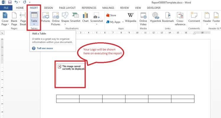 how to add columns to word report